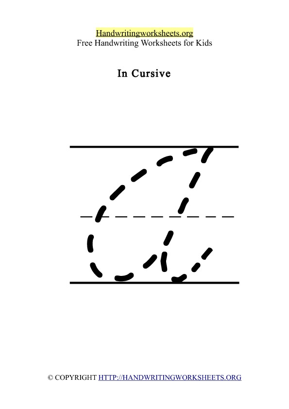Handwriting Worksheet Letter A Cursive