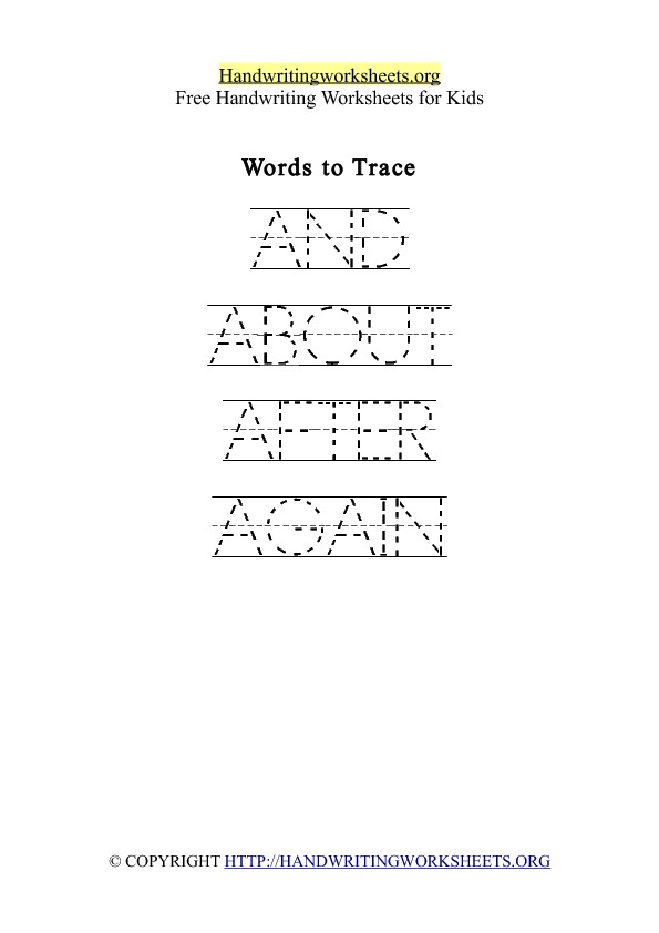 Handwriting Worksheet Letter A Words