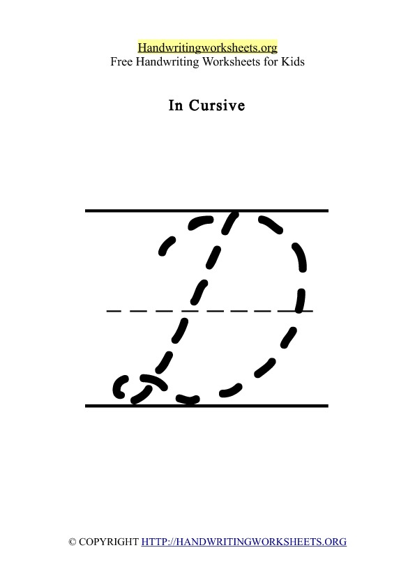 Handwriting Worksheet Letter D Cursive