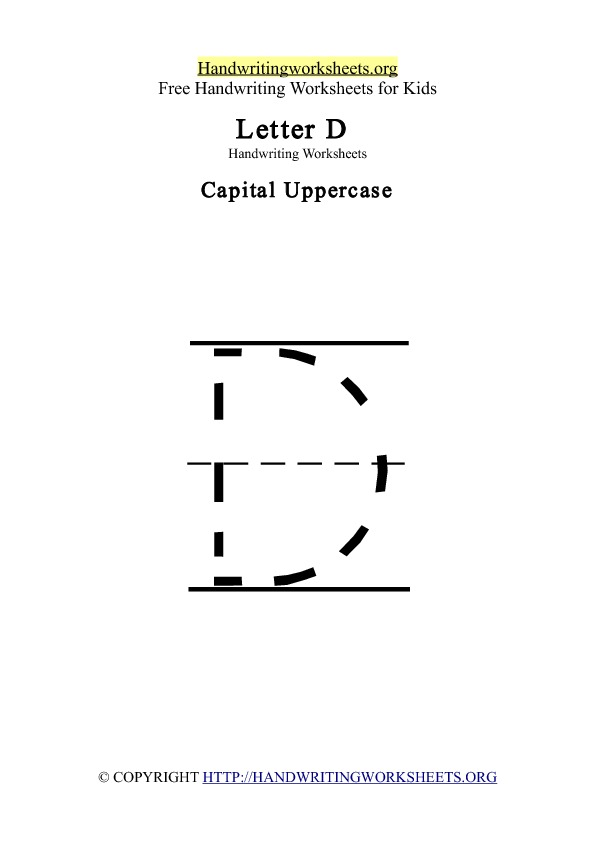 Handwriting Worksheets Letter D