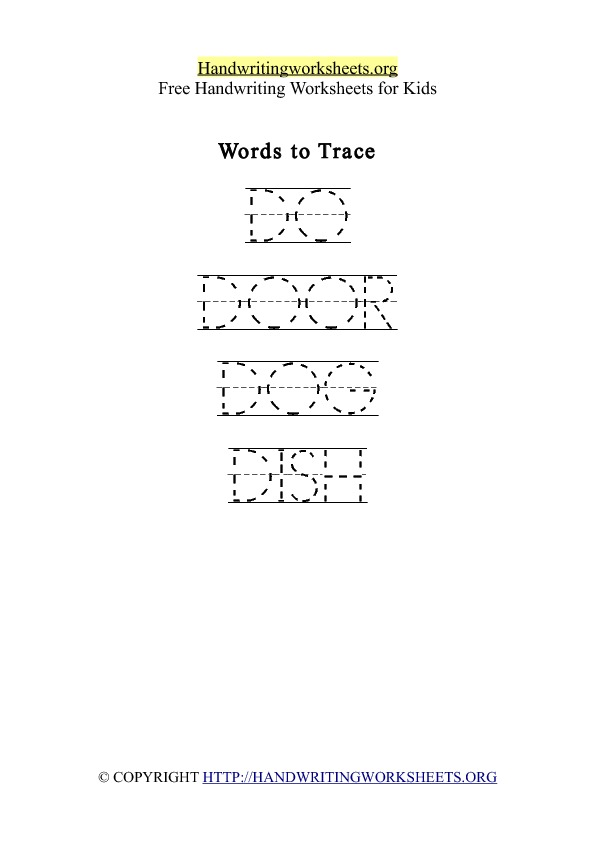 Handwriting Worksheet Letter D Words
