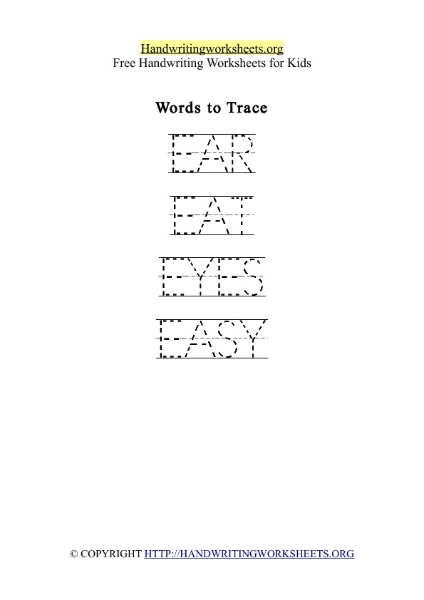 Handwriting Worksheet Letter E Words