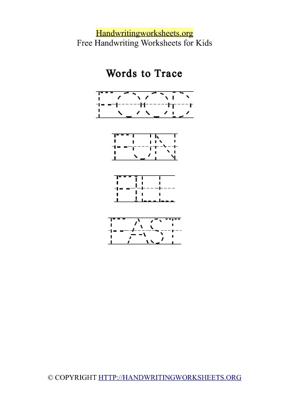 Handwriting Worksheet Letter F Words