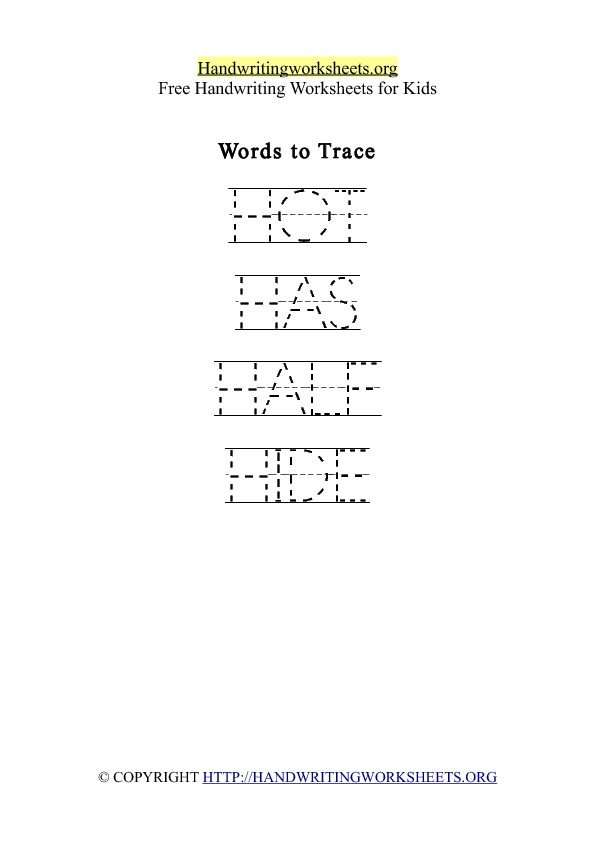 Handwriting Worksheet Letter H Words