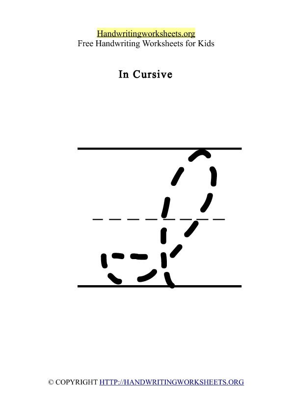 Handwriting Worksheet Letter I Cursive