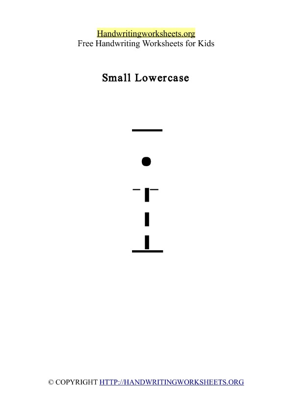 Handwriting Worksheet Letter I Lowercase