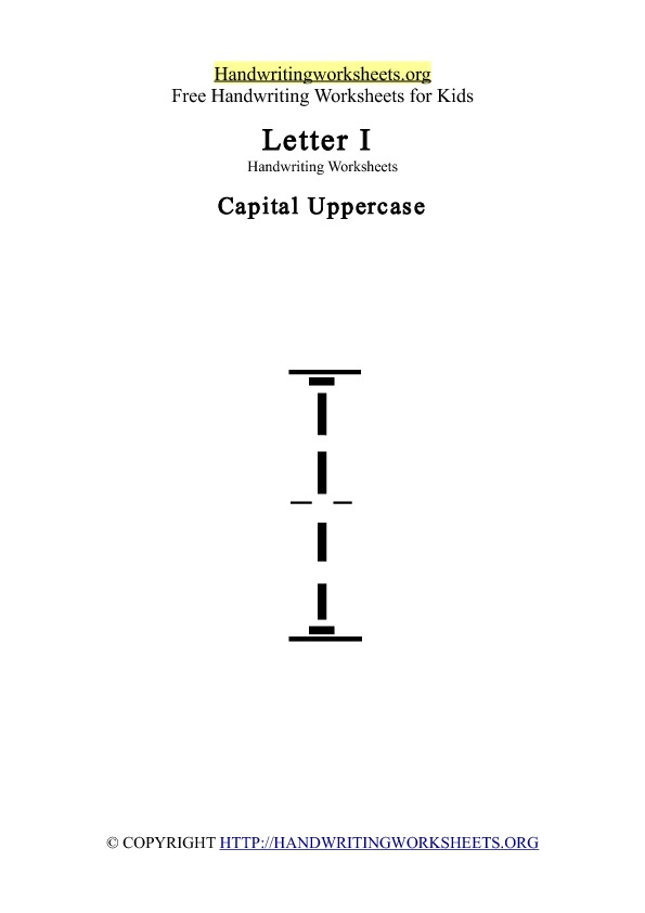 Handwriting Worksheet Letter I Uppercase