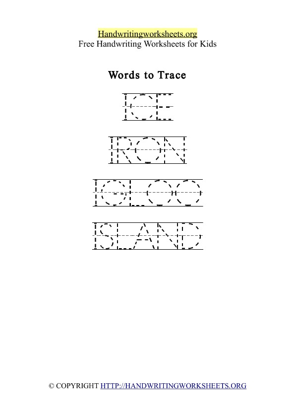 Handwriting Worksheet Letter I Words