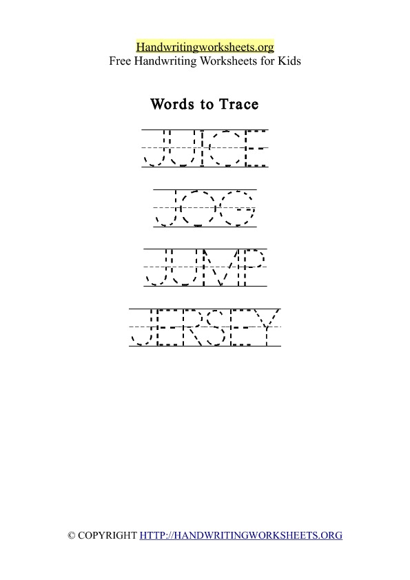Handwriting Worksheet Letter J Words