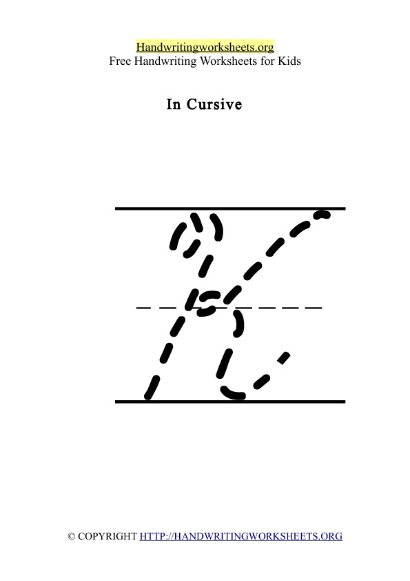 Handwriting Worksheet Letter K Cursive