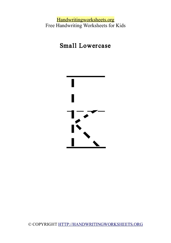 Handwriting Worksheet Letter K Lowercase