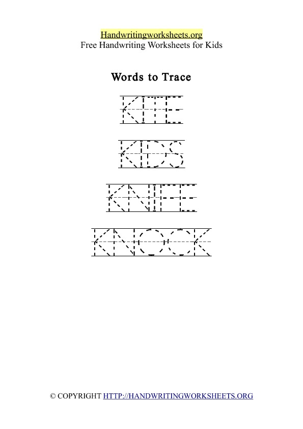 Handwriting Worksheet Letter K Words