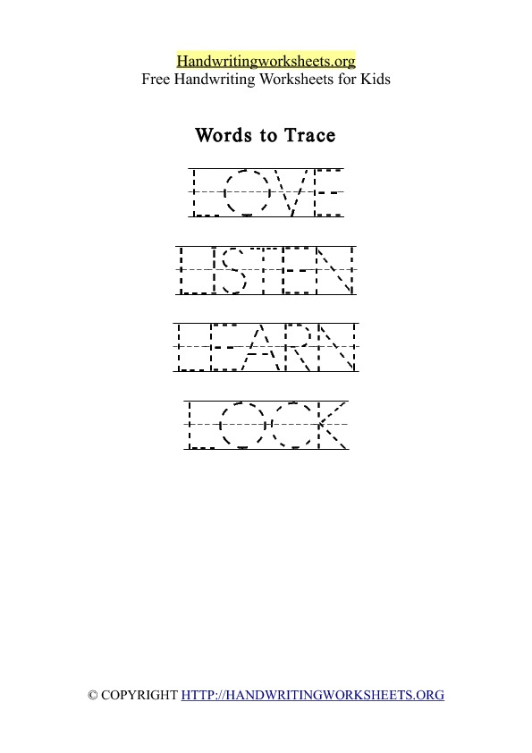 Handwriting Worksheet Letter L Words