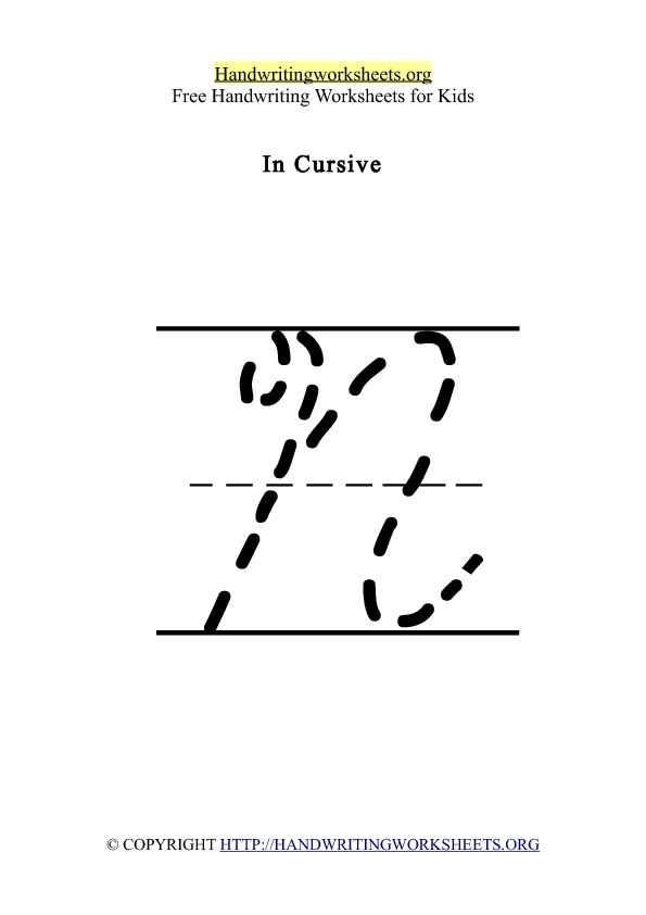 handwriting worksheet letter n cursive
