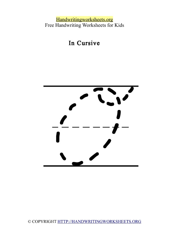 Handwriting Worksheet Letter O Cursive