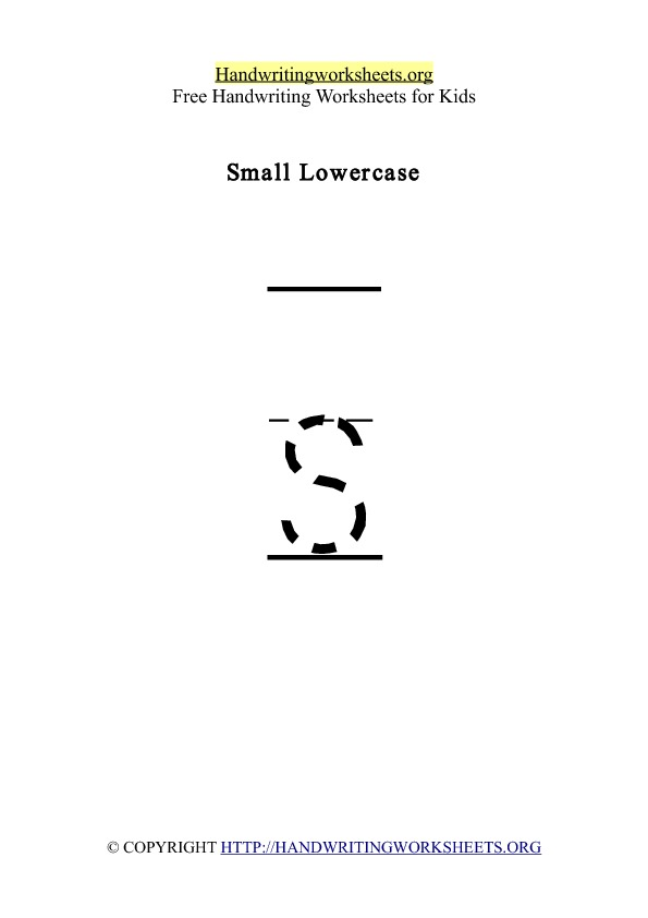 Handwriting Worksheet Letter S Lowercase