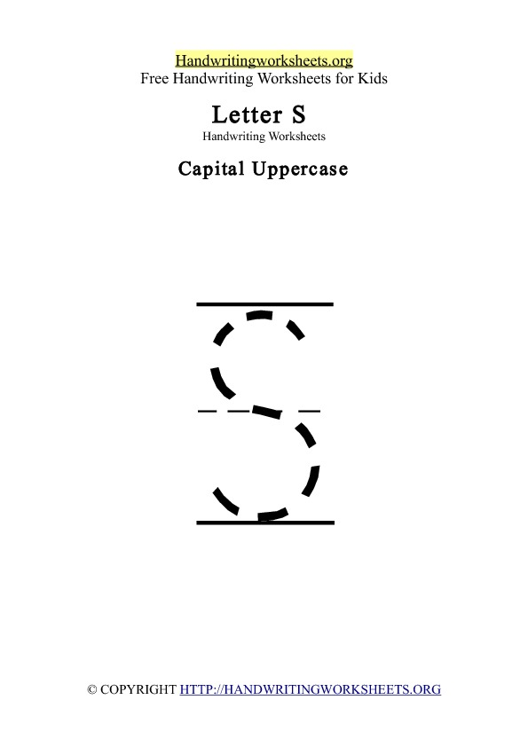 Handwriting Worksheets Letter S