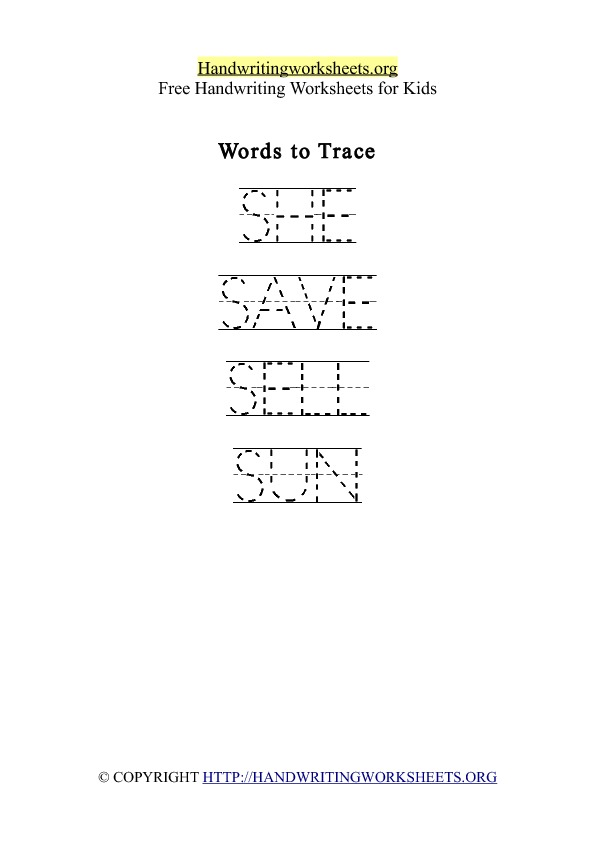 Handwriting Worksheet Letter S Words
