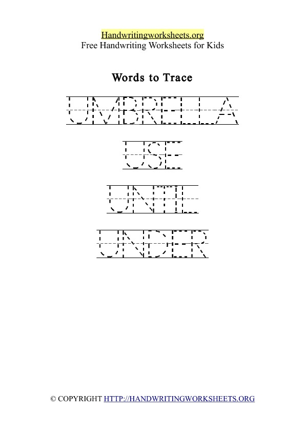 Handwriting Worksheet Letter U Words