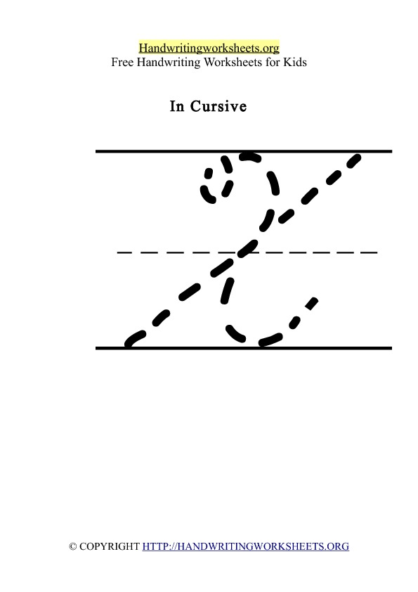 Handwriting Worksheet Letter X Cursive