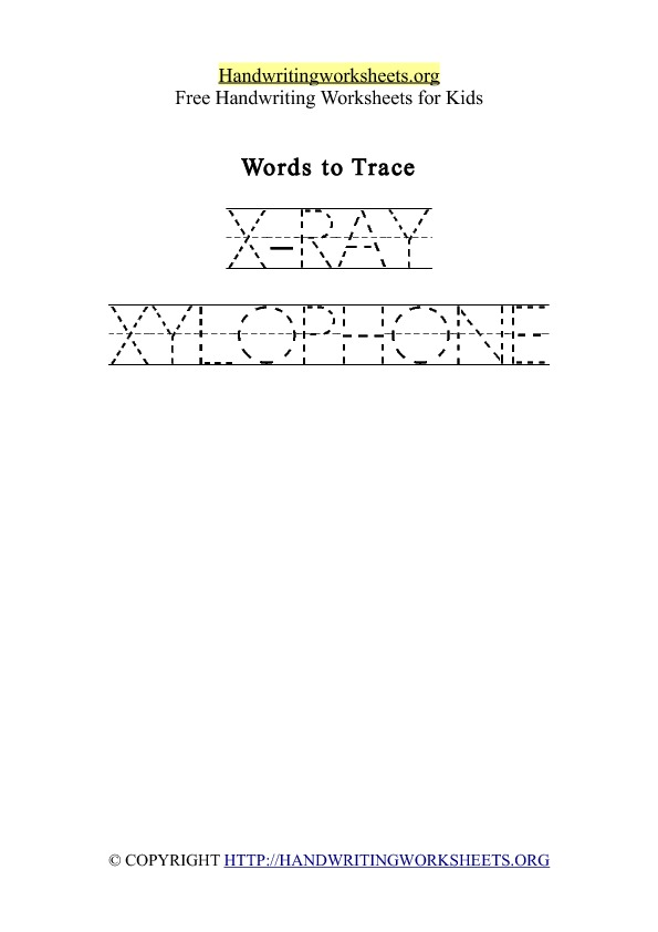 Handwriting Worksheet Letter X Words