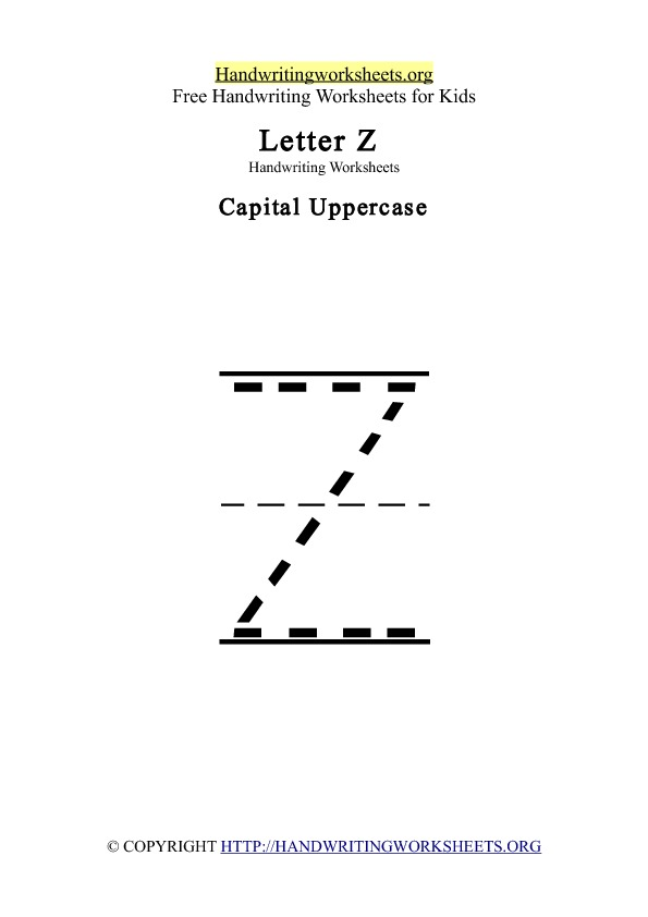 Handwriting Worksheets Letter Z