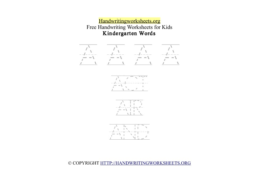 A to Z Handwriting Words Worksheets