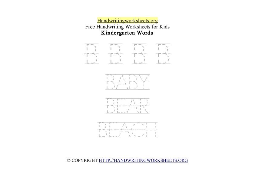 Handwriting Words Letter B Uppercase Capitals
