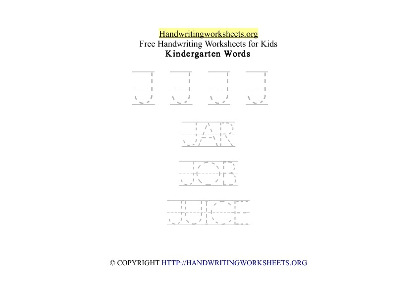 Handwriting Words Letter J Uppercase Capitals