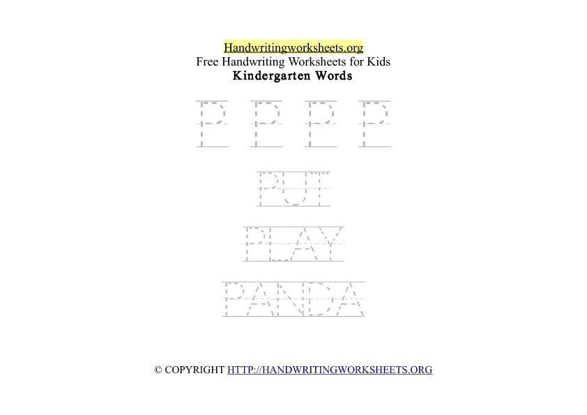 Handwriting Words Letter P Uppercase Capitals