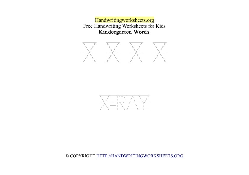 Handwriting Words Letter X Uppercase Capitals