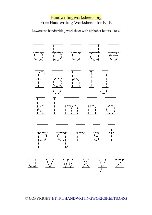 Worksheet For Small Alphabets: printable lowercase handwriting worksheet az handwriting ,