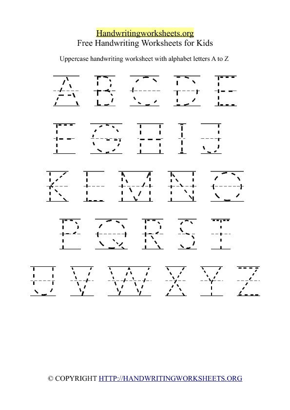 Free printable handwriting worksheet with uppercase capital letters ...