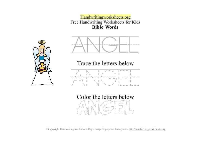 Angel - Bible Words - PDF Handwriting Worksheet
