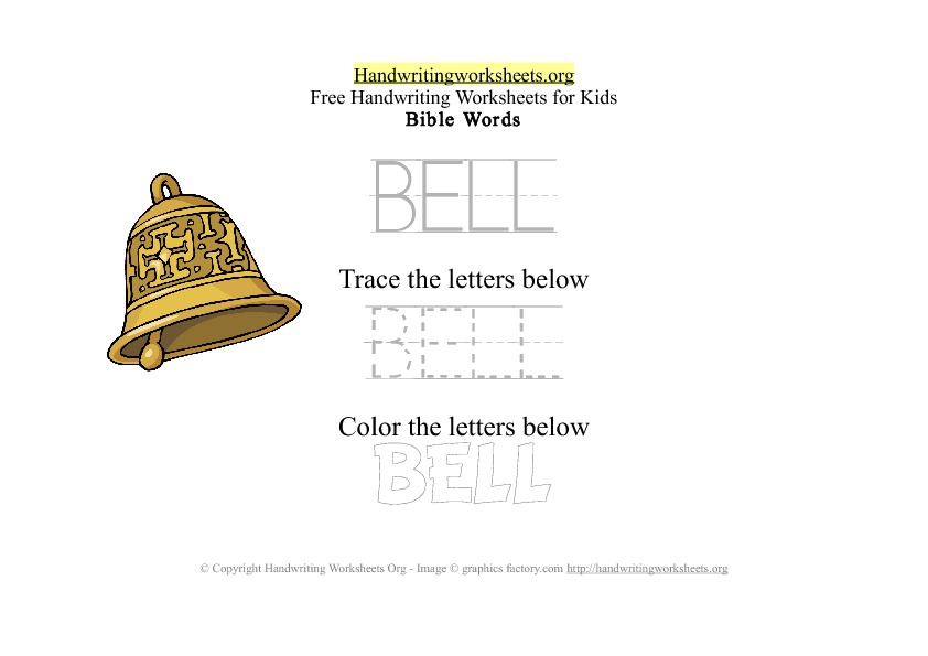 Bell - Bible Words - PDF Handwriting Worksheet