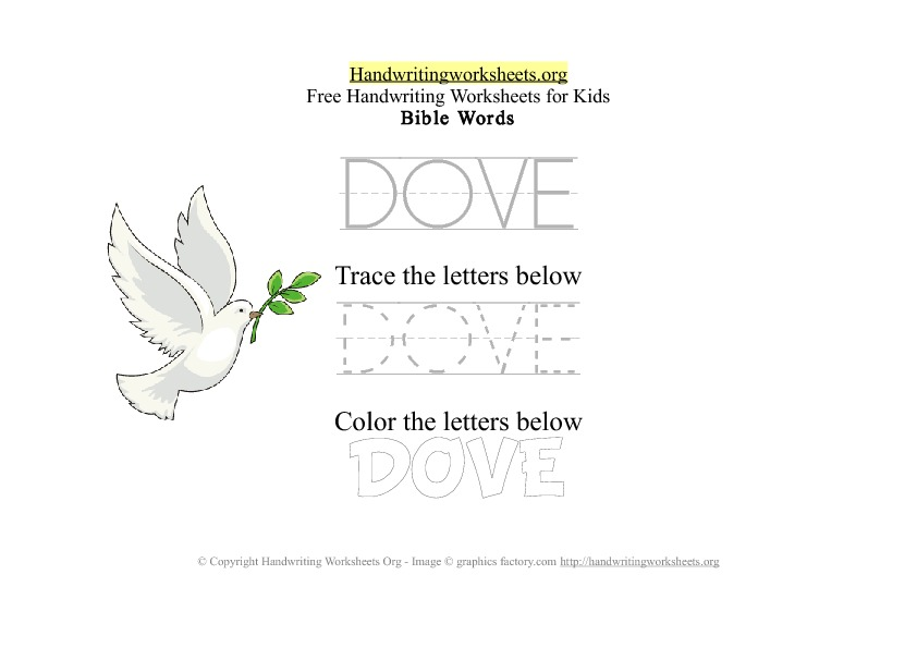 Dove - Bible Words - PDF Handwriting Workshee