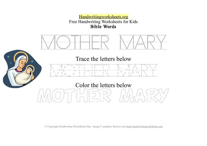 Mother Mary - Bible Words - PDF Handwriting Workshee