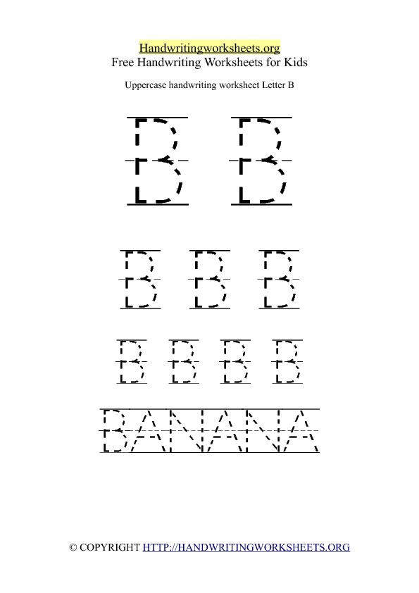 Uppercase Handwriting Worksheet B