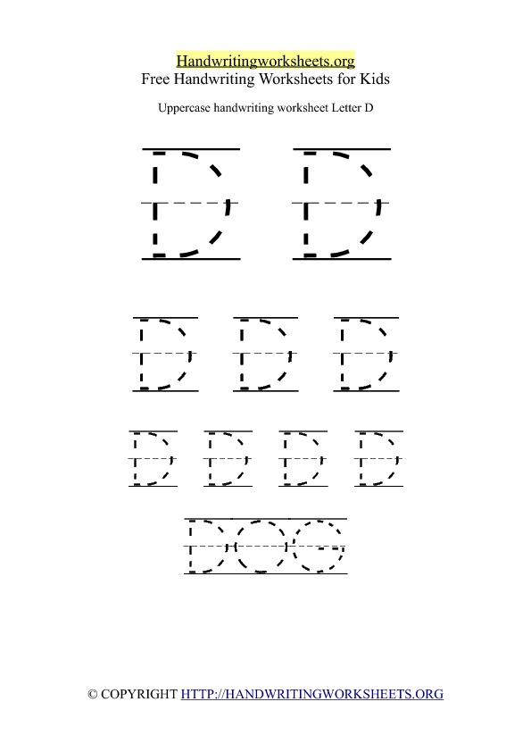 Uppercase Handwriting Worksheet D