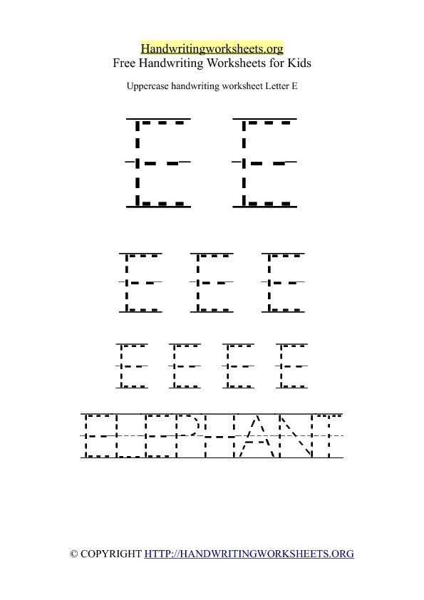Uppercase Handwriting Worksheet E