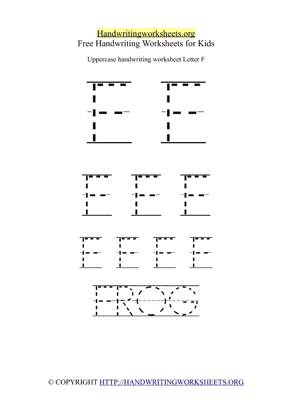 Uppercase Handwriting Worksheet F