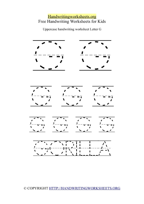 Uppercase Handwriting Worksheet G