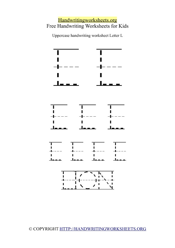 Uppercase Handwriting Worksheet L