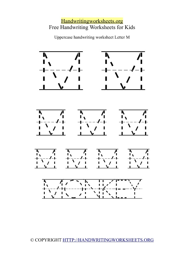 Uppercase Handwriting Worksheet M