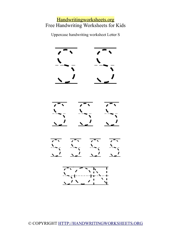 Uppercase Handwriting Worksheet S