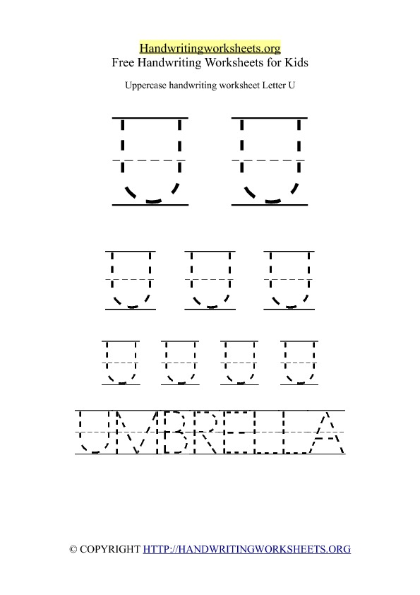 Uppercase Handwriting Worksheet U