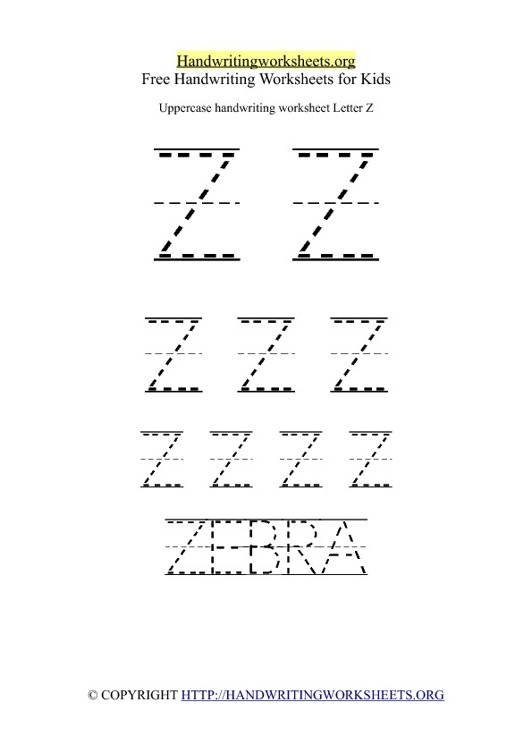 Uppercase Handwriting Worksheet Z