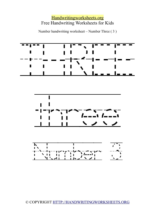 Handwriting Worksheet Number 3