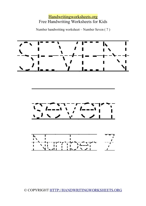 Handwriting Worksheet Number 7