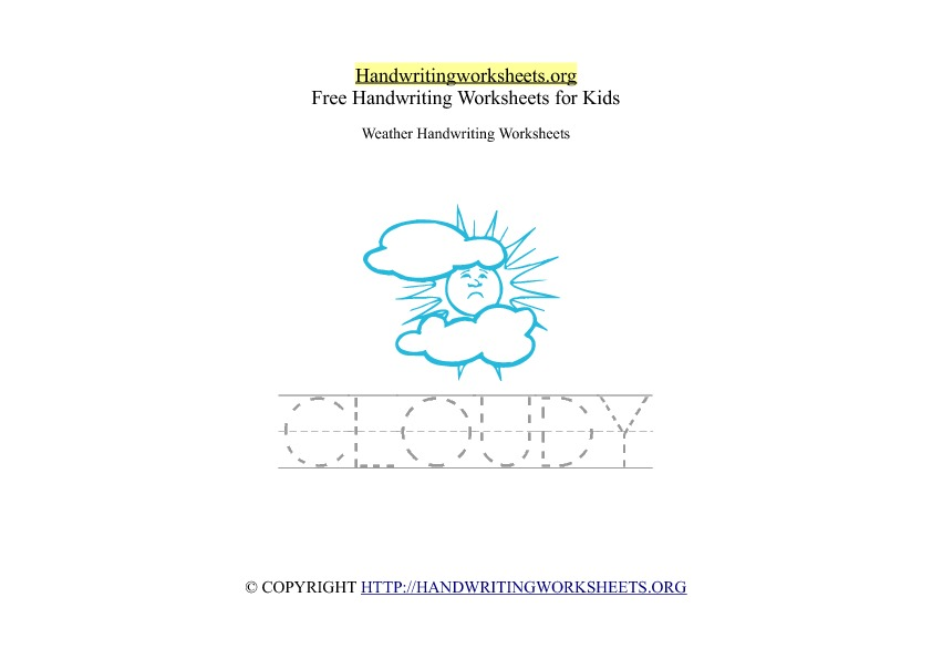 Cloudy - Weather Words - PDF Handwriting Worksheet